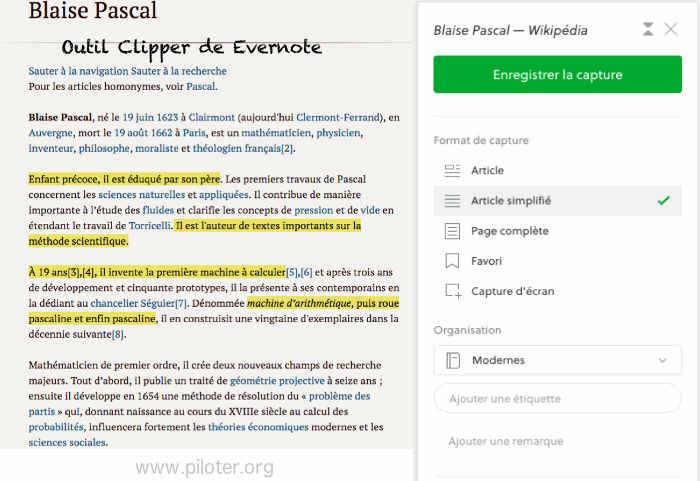 L'outil clipper d'evernote