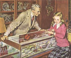 vintage, commerçant et client