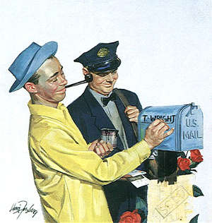 le mode de courrier push, image vintage du postman